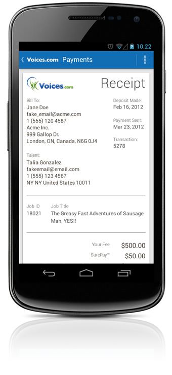Receipt on Your Android Mobile Phone