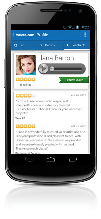 Feedback Ratings on the Android App