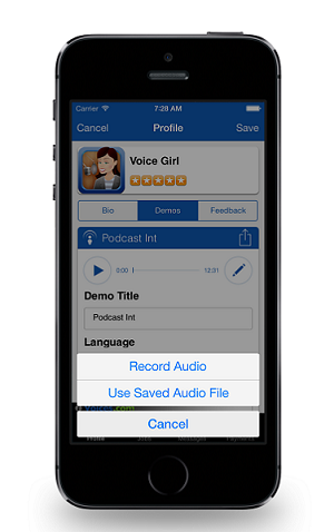 Edit demo with edit options - voices.com app