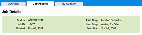 Audition Submitted