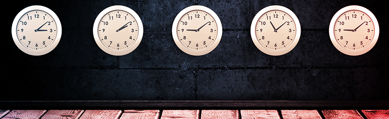 '5 Ways to Maximize Your Voice Acting Auditions' - Voices.com #1 Voice Over Marketplace for Voice Talent. 5 Clocks showing different times lined up in a row. Productivity theme.