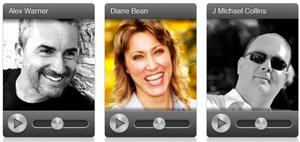 Voices.com talent showcase, Alex Warner, Diane Bean, J. Michael Collins