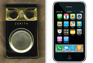 Zenith transistor radio beside an Apple iPhone