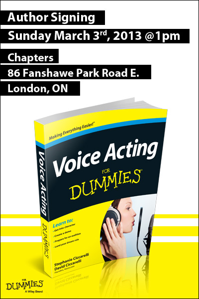Voice Acting For Dummies invite for Chapters North London Author Signing