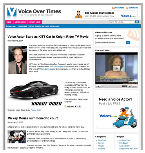 Voice Over Times - The News Site for the Voice Acting Community