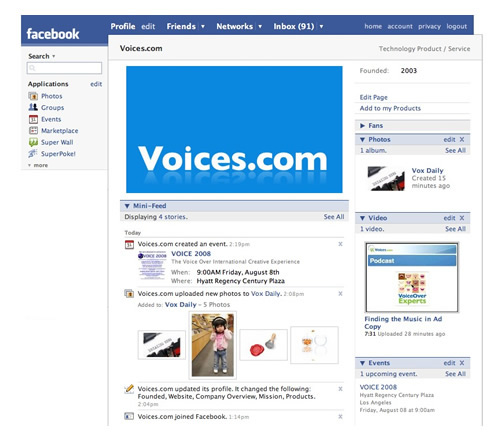 Voices.com Facebook Page