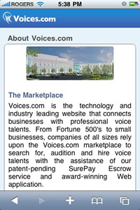 Voices.com Convergence Center on iPhone, iPod and iPad