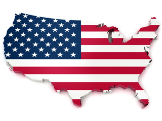 American flag map of United States of America
