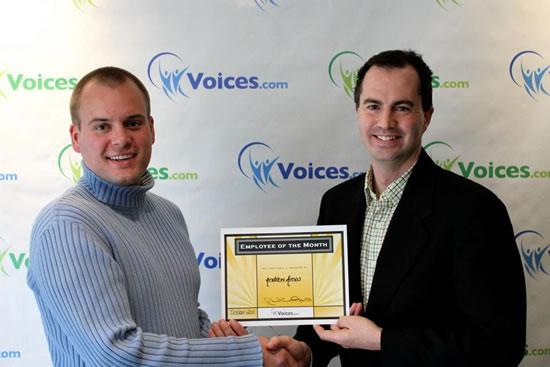 Andrew Amos with Voices.com CEO David Ciccarelli, November 2011