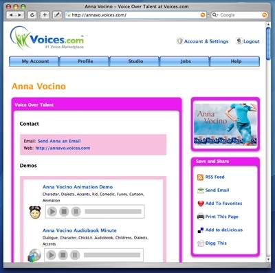 Anna Vocino's Voices.com website