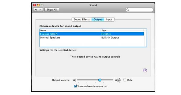 Apple system preferences, sound, output