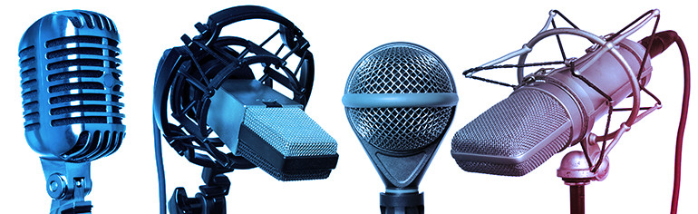 Many different microphones that can be used for capturing voice-over recordings.