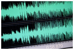 Audio editing, two tracks, wave forms