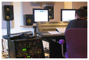 Audio engineer at desk