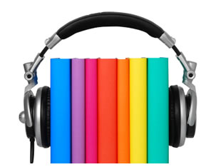 Books with headphones around them