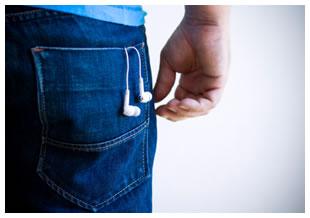 Back pocket earbuds