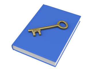 Blue book and gold key