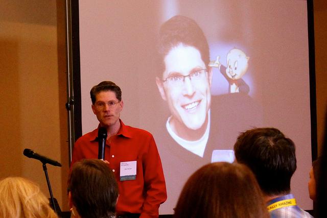 Bob Bergen giving his keynote address at VO Atlanta 2014