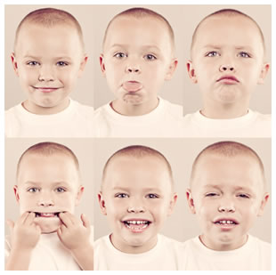 Boy making faces