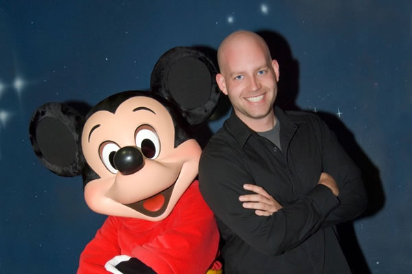 Bret Iwan with Mickey Mouse
