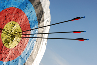 Bulls eye target, three arrows