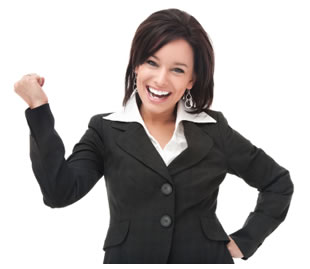 Businesswoman flexing her muscles