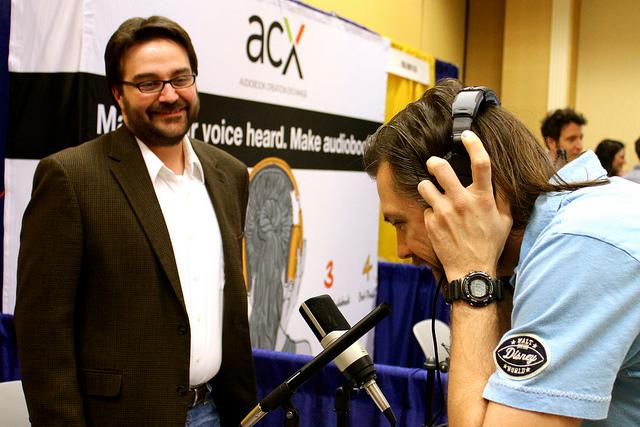 Christopher Currier of Sennheiser USA/Neumann with voice artist Sam Beman at VO Atlanta 2014.