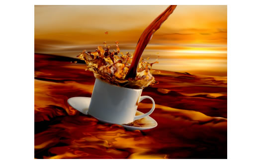 Coffee Cup Sunrise in Coffee Ocean