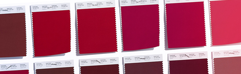 Color swatches, red - a wide array of varying shades of red