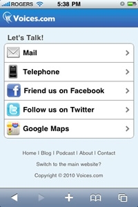 Voices.com Contact Page on iPhone