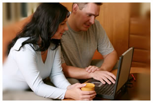 Couple searching online