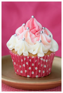 cupcake with pink and white icing