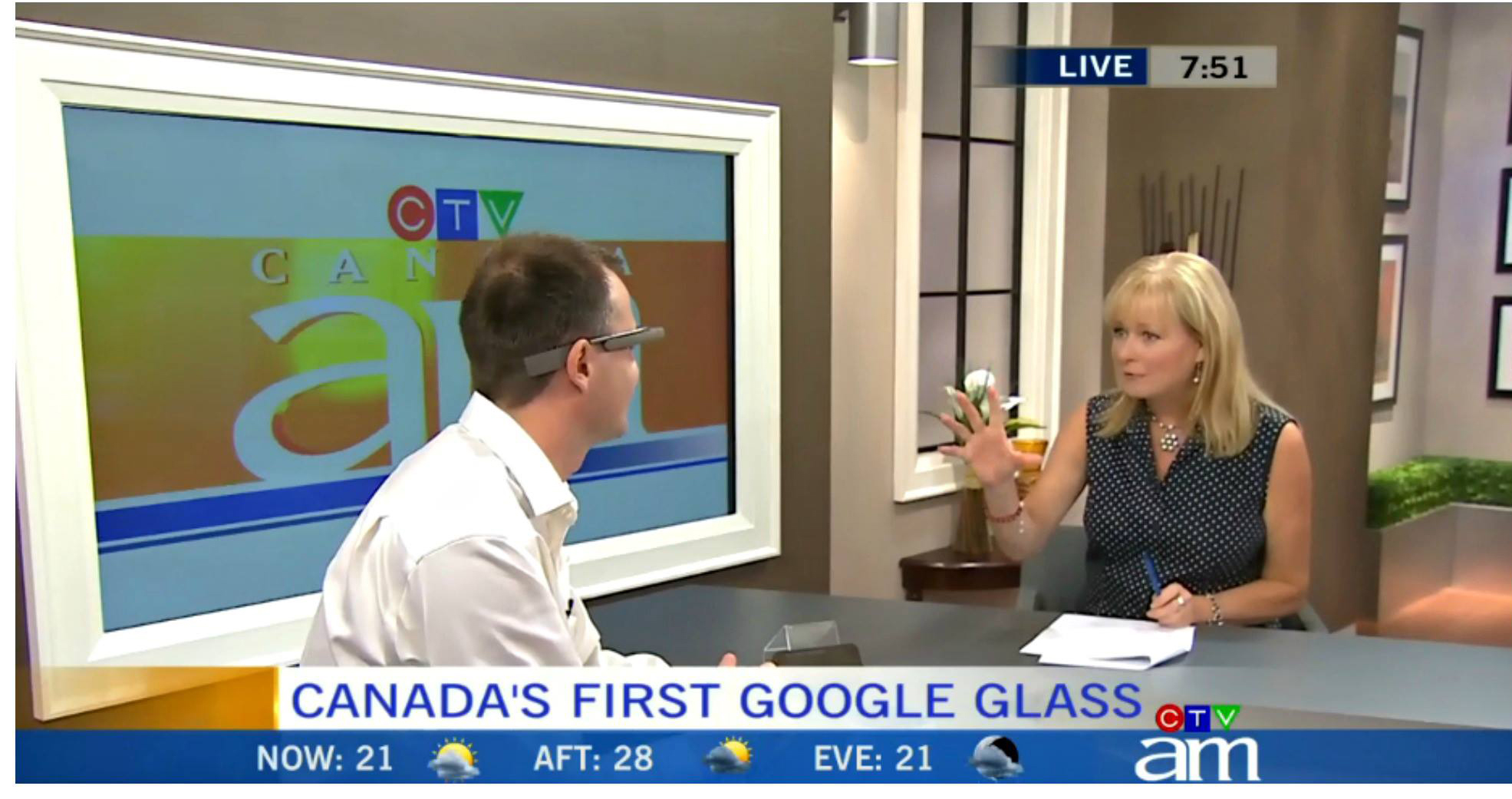 Canada's first Google Glass Explorer David Ciccarelli with Canada AM Host, Beverly Thomson. July 8, 2013.