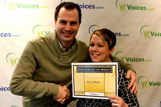 David Ciccarelli with Kelly Matthews, Voices.com employee of the month, January 2012