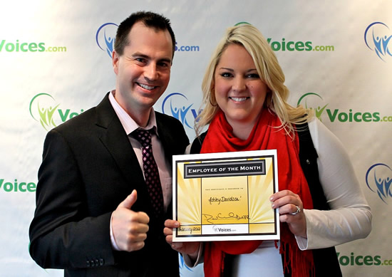 Voices.com CEO David Ciccarelli with Ashley Davidson, Employee of the Month, February 2012