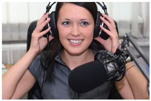 Female radio announcer test