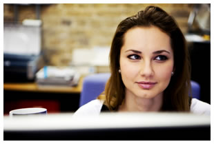 Female working in an office