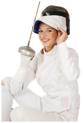 Woman in fencing clothes
