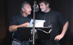 Frank Welker with Jonathan Murphy recording in studio; the mentor and his mentee.