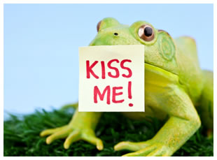 Frog prince with a kiss me sign on his lips