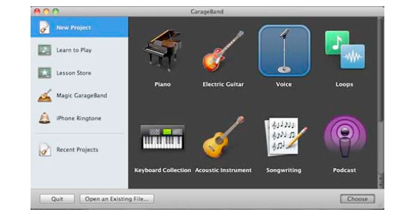 Garageband start a new project, pick template, then select