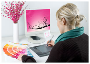 Graphic designer at her computer