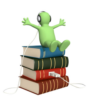 Green guy sitting on a stack of books with a USB port coming out of them, earbuds. Audiobook concept.