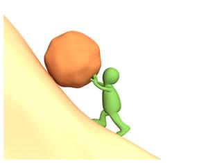 Green man pushing a boulder up a hill