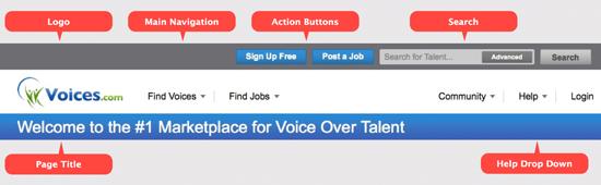 Voices.com website header, Fall/Winter 2012