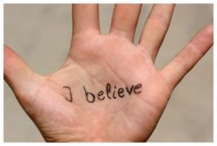 I believe written on a palm
