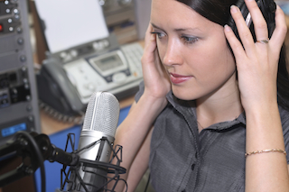 Woman in a radio station