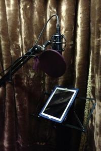iPad in voice-over studio, voice actor David Radke