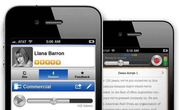 iPhone app screen shot, Voices.com, talent profile, scripts for recording auditions or demos on the iPhone.