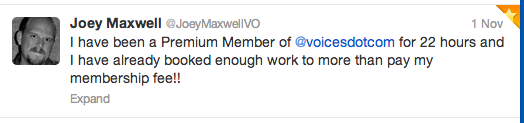 Joey Maxwell VO twitter testimonial about Voices.com experience - Nov. 1, 2013.